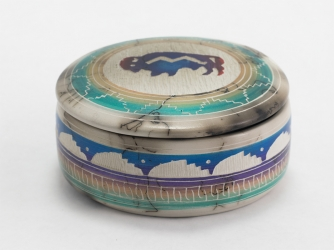 Horse Hair Jewelry Box Buffalo Decorated Lid