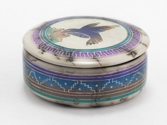 Horse Hair Jewelry Box Hummingbird Decorated Lid