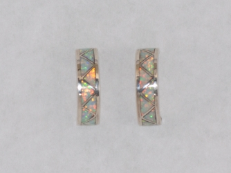Opal Inlay Post Hoop Earrings
