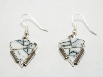White Buffalo Triangle Signed Earrings