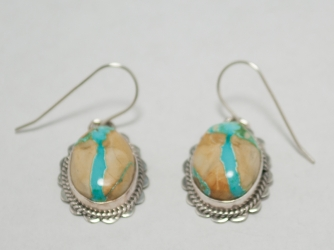 Turquoise & Picture Jesper Signed Dangle Earrings