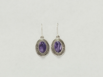 Sugilite Signed Sterling Dangle Earrings