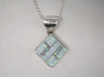 Diamond Shaped Opal Pendant on Chain