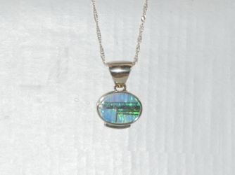 Oval Opal Signed Pendant with Chain