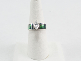 Abalone Ring with Marquis CZ