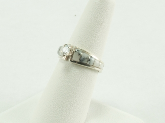 White Buffalo Ring with Round CZ