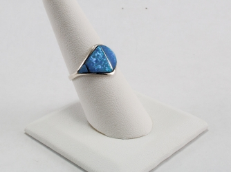 Blue Fire Opal Pyramid Ring