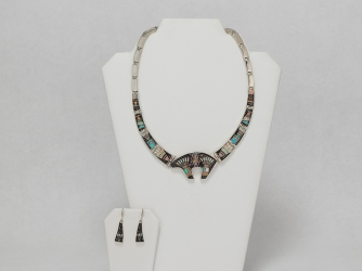 Zuni Inlay Necklace and Earrings w/Bear Pendant