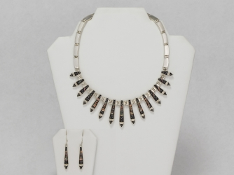 Zuni Inlay Arrow Design Choker Necklace & Earrings