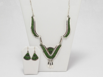 Gaspeite Necklace, Earrings & Ring Set