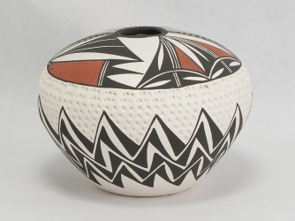 Embossed and Paint Decorated Acoma Bowl by B. Garcia