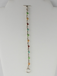 Sterling & Multi Stone Chain Link Bracelet