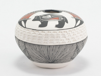 Seed Pot with Bear & Feather Motif by Acoma Garcia