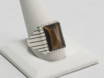 Tiger Eye Rectangular Ring Size 13