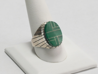 Malachite Oval Ring size 10.5