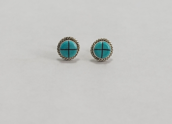 Small Round Turquoise Earrings & Silver Rope