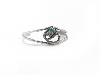 Sterling Silver Snake Bracelet w/Turquoise Stone