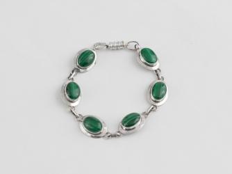 Malachite & Sterling Link Bracelet