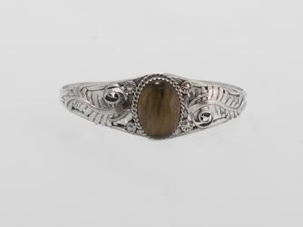 Sterling Bracelet w/ Large Tiger Eye Stone