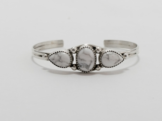 Sterling Bracelet w/ 3 White Buffalo Stones
