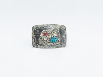 Rectangular Nickel Belt Buckle w/Turquoise and Coral Stones