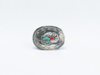 Oval Nickel Belt Buckle w/coral and turquoise stones