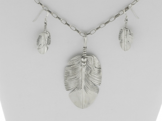 Navajo Feather Necklace/Earring Set by Ben BeGay