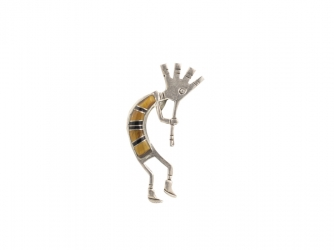 Tiger Eye Kokopeli Pin
