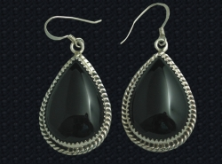 Onyx & Sterling Dangle Earrings