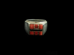 Orange Spiney Oyster & Jet Inlay Ring
