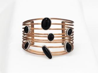 Copper Cuff Bracelet with Onyx