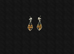 Jet & Tiger Eye Inlay Earrings