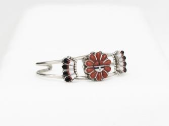 Sunface bracelet coral, jet, MoP