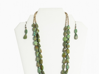 2 strand nugget gaspeite necklace & earrings