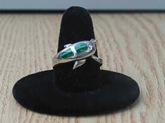 Malachite and Cubic Zirconia Dolphin Ring