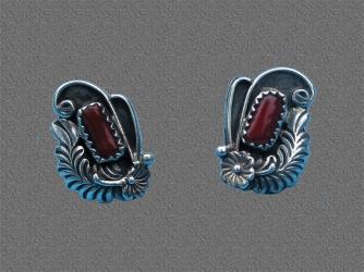 Intricate Coral & Sterling Earrings