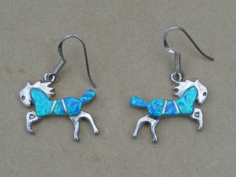 Blue Opal Horse Earrings