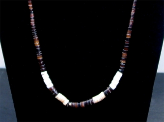 Tiger Eye and White Heishe Necklace