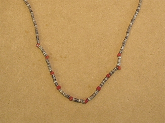 Single Strand Olive Shell and Ccoral Neishe Necklace