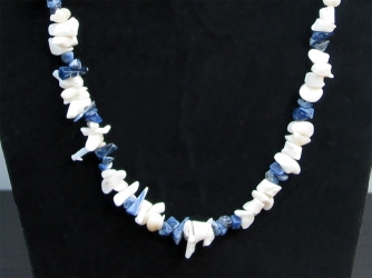 White Shells & Lapis Nugget Necklace