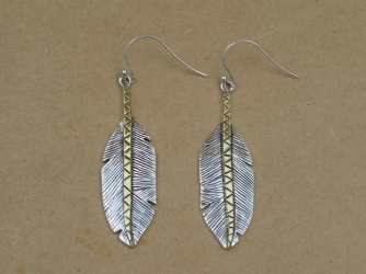 Two tone sterling and gold Feather Earrings