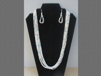 Ramona Bird Heishi 10 Strand Necklace & Earrings