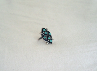 Zuni Petit Point 6 Turquoise Stone Ring