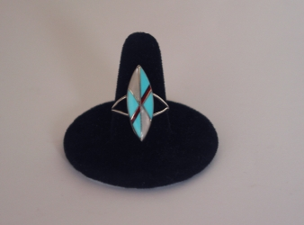 Zuni Inlay Ring w/  Turquoise, Coral, MoP