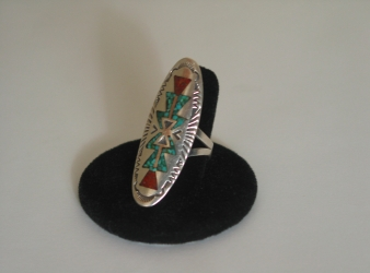 Navajo Chip Inlay Elongated Ring