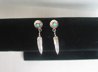 Delicate Feather Dangle Earrings w/turquoise
