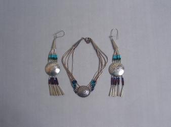 Navajo Beaded & Sterling Bracelet & Earring Set