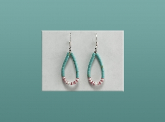 Heishe Turquoise/Melon Shell Earrings