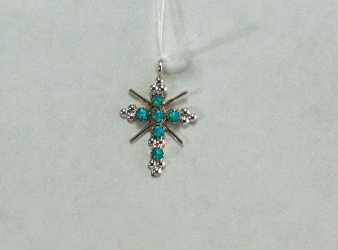 Fire Opal and Sterling Cross Pendant
