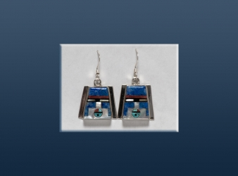 Zuni Inlay Lapis Sunface Earrings